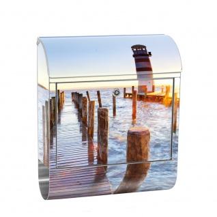 Edelstahl Wandbriefkasten XXL mit Motiv & Zeitungsrolle   Sonnenaufgang Meer Strand Sonnenaufgang Palmen   no. 0150