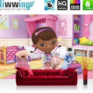 liwwing Fototapete 254x168 cm PREMIUM Wand Foto Tapete Wand Bild Papiertapete - Disney Tapete Disney - Doc McStuffins Kindertapete Cartoon Puppe Kuscheltier rosa - no. 1136