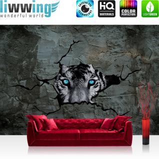 liwwing Vlies Fototapete 416x254cm PREMIUM PLUS Wand Foto Tapete Wand Bild Vliestapete - Tiere Tapete Tiger Steinwand Augen Beton Wand schwarz weiß - no. 1256