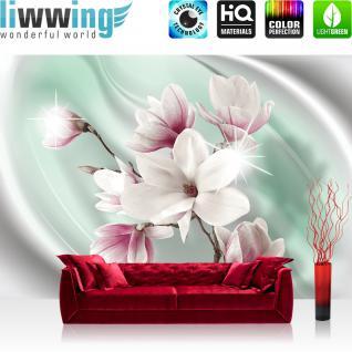liwwing Vlies Fototapete 208x146cm PREMIUM PLUS Wand Foto Tapete Wand Bild Vliestapete - Blumen Tapete Magnolia Pflanze Natur beige - no. 2949