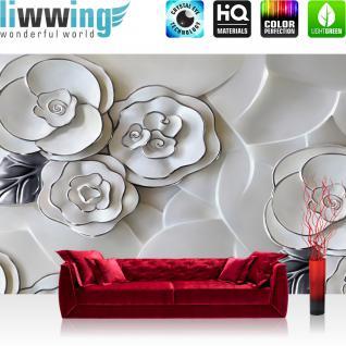 liwwing Vlies Fototapete 312x219cm PREMIUM PLUS Wand Foto Tapete Wand Bild Vliestapete - Blumen Tapete Blüten Blätter Kunst Design weiß - no. 3044