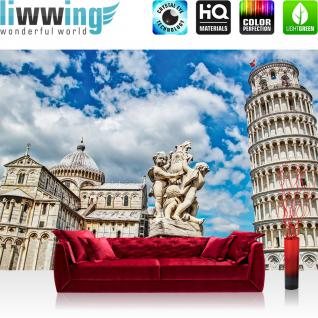 liwwing Vlies Fototapete 104x50.5cm PREMIUM PLUS Wand Foto Tapete Wand Bild Vliestapete - Italien Tapete Pisa Italien Stadt Turm Dom Piazza del Duomo beige - no. 1943