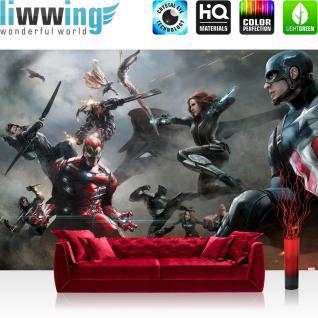 liwwing Vlies Fototapete 416x254cm PREMIUM PLUS Wand Foto Tapete Wand Bild Vliestapete - Marvel - AVENGERS Tapete The Avengers Captain America Iron Man bunt - no. 3538