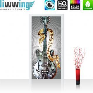 liwwing Türtapete selbstklebend 91x211 cm PREMIUM PLUS Tür Fototapete Türposter Türpanel Foto Tapete Bild - Gitarre Rock `n` Roll - no. 293