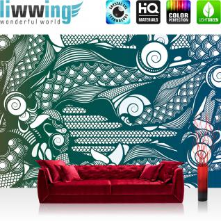 liwwing Vlies Fototapete 400x280 cm PREMIUM PLUS Wand Foto Tapete Wand Bild Vliestapete - Illustrationen Tapete Abstrakt Flügel bunt grün - no. 354