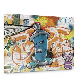 Leinwandbild Kinder Graffiti Dose Sprayer bunt | no. 340