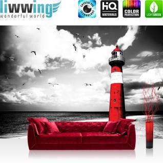 liwwing Fototapete 254x168 cm PREMIUM Wand Foto Tapete Wand Bild Papiertapete - Strand Tapete Leuchtturm Strand Wolken Meer Vögel Möwen rot - no. 542