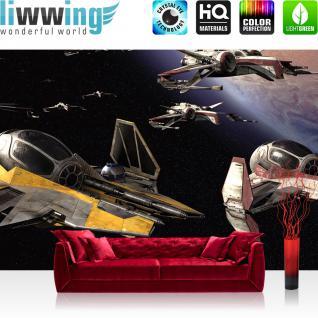 liwwing Vlies Fototapete 208x146cm PREMIUM PLUS Wand Foto Tapete Wand Bild Vliestapete - Kindertapete Tapete Star Wars Weltall Raumschiffe Planet schwarz - no. 2664
