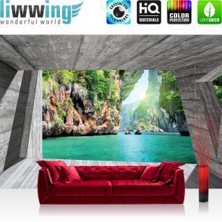 liwwing Vlies Fototapete 312x219cm PREMIUM PLUS Wand Foto Tapete Wand Bild Vliestapete - Berge Tapete Paradies Wasser Felsen Holz türkis - no. 3564