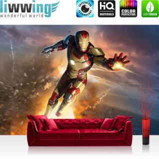 liwwing Vlies Fototapete 312x219cm PREMIUM PLUS Wand Foto Tapete Wand Bild Vliestapete - Cartoon Tapete Marvel Iron Man Superheld Comic Feuer grau - no. 1556