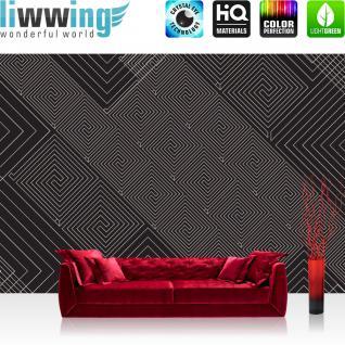 liwwing Vlies Fototapete 400x280 cm PREMIUM PLUS Wand Foto Tapete Wand Bild Vliestapete - Illustrationen Tapete Abstrakt Ornamente Muster schwarz - weiß - no. 400
