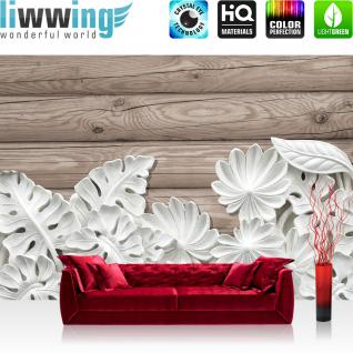 liwwing Fototapete 368x254cm PREMIUM Wand Foto Tapete Wand Bild Papiertapete - Ornamente Tapete Blätter Blüten Stuck Alabaster Holz weiß - no. 3249