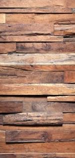 Türtapete - Holzwand Steinoptik Holz Wand Mauer Holztapete | no. 174 - Vorschau 5