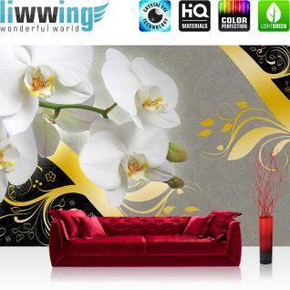 liwwing Vlies Fototapete 208x146cm PREMIUM PLUS Wand Foto Tapete Wand Bild Vliestapete - Ornamente Tapete Orchidee Blume Blüte Knospen Ranke Schnörkel grau - no. 1489