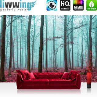 liwwing Vlies Fototapete 300x210 cm PREMIUM PLUS Wand Foto Tapete Wand Bild Vliestapete - Wald Tapete Bäume Laub Herbst Nebel blau - no. 818