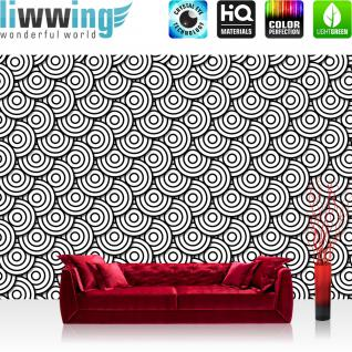 liwwing Vlies Fototapete 152.5x104cm PREMIUM PLUS Wand Foto Tapete Wand Bild Vliestapete - Illustrationen Tapete Muster Kreise Formen schwarz weiß - no. 2985