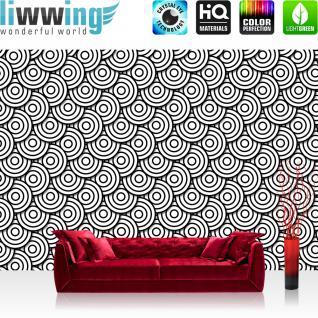 liwwing Vlies Fototapete 208x146cm PREMIUM PLUS Wand Foto Tapete Wand Bild Vliestapete - Illustrationen Tapete Muster Kreise Formen schwarz weiß - no. 2985
