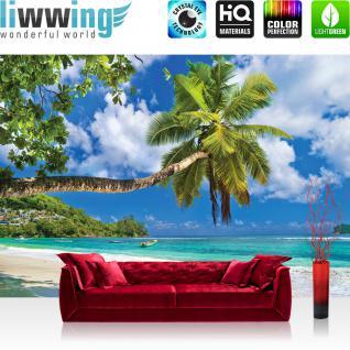 liwwing Fototapete 368x254cm PREMIUM Wand Foto Tapete Wand Bild Papiertapete - Meer Tapete Sonnenuntergang Palmen Südsee Karibik bunt - no. 3288