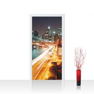 Türtapete - Skyline Straße New York Lightning | no. 1111
