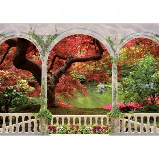 Fototapete Pflanzen Tapete Terrasse Wasser See Blumen Park Bäume Ranken Säulen rot   no. 2086