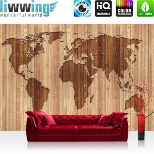 liwwing Vlies Fototapete 416x254cm PREMIUM PLUS Wand Foto Tapete Wand Bild Vliestapete - Welt Tapete Weltkarte Holzmuster Retro braun - no. 3556