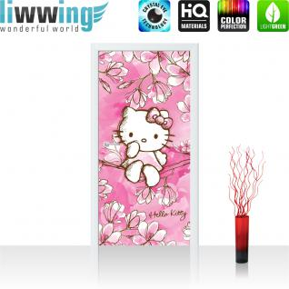 liwwing Türtapete selbstklebend 91x211 cm PREMIUM PLUS Tür Fototapete Türposter Türpanel Foto Tapete Bild - Sanrio HELLO KITTY Kindertapete Cartoon Katze Blumen Baum - no. 1023
