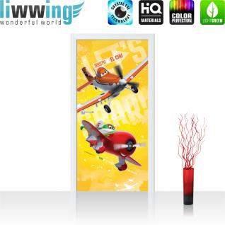 liwwing Vlies Türtapete 91x211 cm PREMIUM PLUS Tür Fototapete Türposter Türpanel Foto Tapete Bild - DISNEYToon Planes Dusty & El Chu Kindertapete Cartoon Flugzeuge - no. 1051