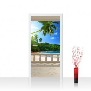 Türtapete - Terrace View Caribbean Beach Seeblick 3D Strand Meer Sonne Palmen | no. 121
