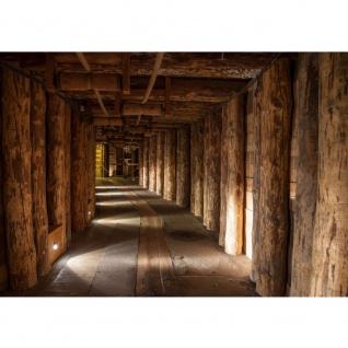 Fototapete Salt Mine Berge Tapete Salzbergwerk braun Holz Untertage rustikal Balken 3D braun | no. 27