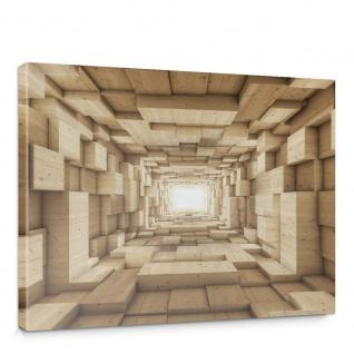 Leinwandbild Abstrakt Holz Kasten Kisten Rechteck Tunnel 3D | no. 944