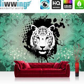 liwwing Vlies Fototapete 312x219cm PREMIUM PLUS Wand Foto Tapete Wand Bild Vliestapete - Tiere Tapete Ornamente Punkte Tiger grün - no. 1628