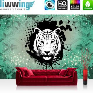 liwwing Vlies Fototapete 416x254cm PREMIUM PLUS Wand Foto Tapete Wand Bild Vliestapete - Tiere Tapete Ornamente Punkte Tiger grün - no. 1628