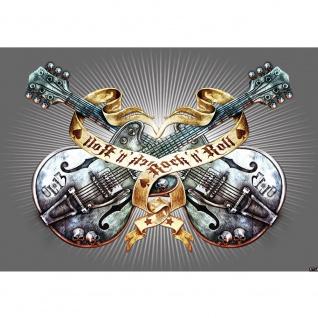 Fototapete Illustrationen Tapete Alchemy Gitarre Rock `n` Roll Vintage Tattoo grau   no. 293