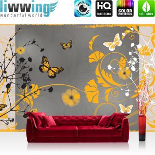 liwwing Vlies Fototapete 416x254cm PREMIUM PLUS Wand Foto Tapete Wand Bild Vliestapete - Kunst Tapete Design Blumen Schmetterlinge Rahmen grau - no. 3064