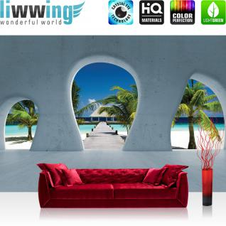 liwwing Vlies Fototapete 416x254cm PREMIUM PLUS Wand Foto Tapete Wand Bild Vliestapete - Architektur Tapete Palme Strand Meer Paradies Baustil Bauform blau - no. 1509