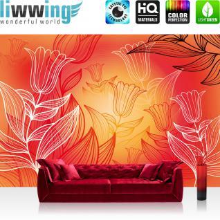 liwwing Fototapete 368x254 cm PREMIUM Wand Foto Tapete Wand Bild Papiertapete - Illustrationen Tapete Tulpen Illustration Blume Pflanzen orange - no. 1231