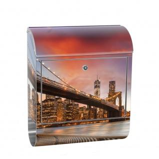Edelstahl Wandbriefkasten XXL mit Motiv & Zeitungsrolle | New York City USA Amerika Empire State Building | no. 0021
