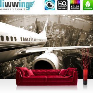 liwwing Vlies Fototapete 400x280 cm PREMIUM PLUS Wand Foto Tapete Wand Bild Vliestapete - SKYLINE FLIGHT - Skyline Flugzeug Urlaub braun sephia - no. 048