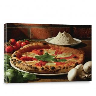 Leinwandbild Pizza Gewürze Gemüse Pilze Tomaten Basilikum | no. 1392