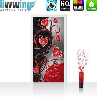 liwwing Türtapete selbstklebend 91x211 cm PREMIUM PLUS Tür Fototapete Türposter Türpanel Foto Tapete Bild - Ornamente Herzen Rose - no. 890