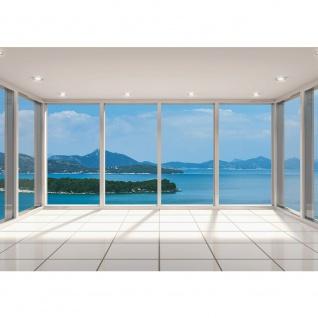 Fototapete Wellness Tapete Meer Insel Fenster Fliesen weiß | no. 2293