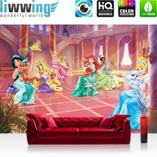liwwing Vlies Fototapete 312x219cm PREMIUM PLUS Wand Foto Tapete Wand Bild Vliestapete - Disney Tapete Princesses Kindertapete Cartoon Arielle Cinderella Jasmin Belle rosa - no. 2391
