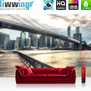 liwwing Vlies Fototapete 400x280 cm PREMIUM PLUS Wand Foto Tapete Wand Bild Vliestapete - NEW YORK BROOKLYN BRIDGE SKYLINE - New York USA Skyline Sephia Brooklyn Bridge NYC - no. 043