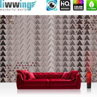 liwwing Fototapete 368x254 cm PREMIUM Wand Foto Tapete Wand Bild Papiertapete - Illustrationen Tapete Dreiecke Illustration Muster grau - no. 1248