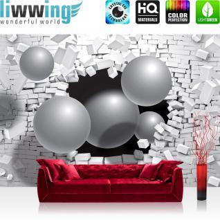 liwwing Vlies Fototapete 416x254cm PREMIUM PLUS Wand Foto Tapete Wand Bild Vliestapete - 3D Tapete Mauer Bausteine Kugeln schwarzes Loch Illustration grau - no. 1386