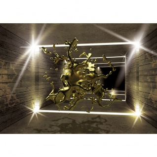 Fototapete Architektur Tapete Tunnel Wand Licht Architektur Holzwand Holz Tropfen Kunst gold | no. 2419