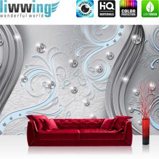 liwwing Fototapete 368x254 cm PREMIUM Wand Foto Tapete Wand Bild Papiertapete - Ornamente Tapete Abstrakt Perlen Ranke Diamant Blätter Schwung Streifen grau - no. 556