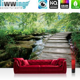liwwing Fototapete 368x254 cm PREMIUM Wand Foto Tapete Wand Bild Papiertapete - Landschaft Tapete Wald Bäume Wasser Bach Holz grün - no. 3065