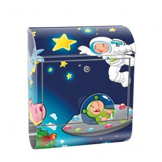 Edelstahl Wandbriefkasten XXL mit Motiv & Zeitungsrolle | Kinder Weltraum Star All Weltall Mond Sterne | no. 0089