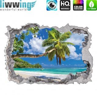 Wandsticker - No. 4768 Wandtattoo Sticker Durchblick Durchbruch Aussicht Strand Palmen Beach Meer Sea